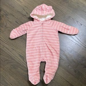 Old Navy Pink White Striped Fleece Lined Onesie